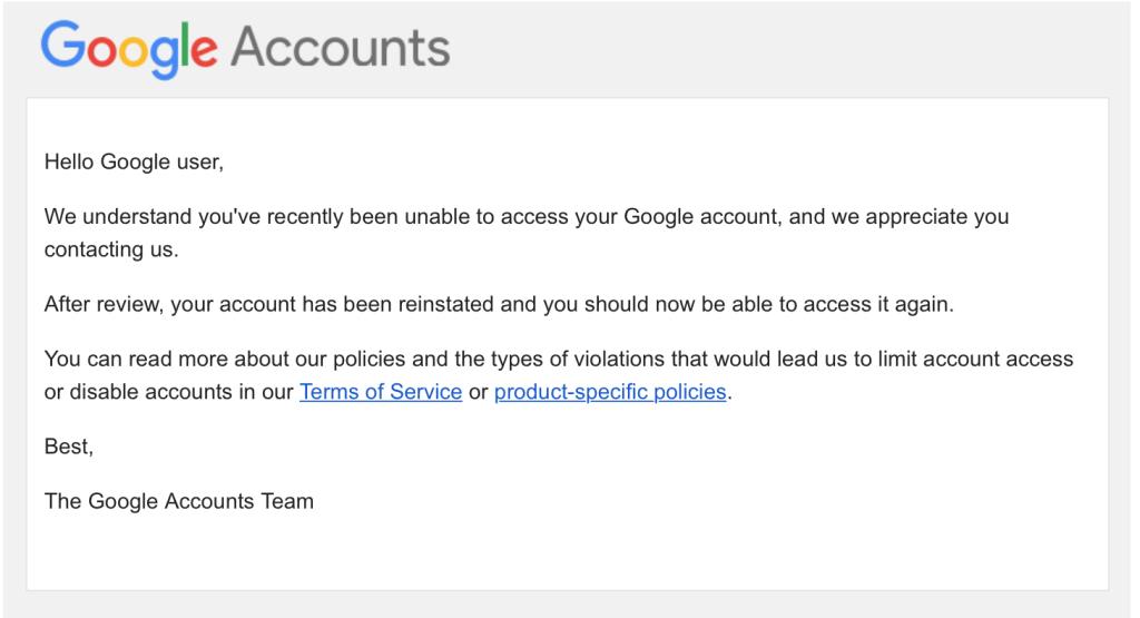 Googleからの返信