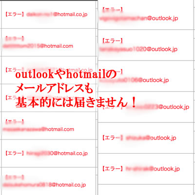 Myaspで届かないメールアドレス:hotmailやoutlook